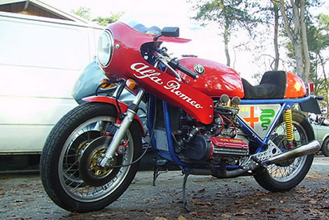 Motorcycle with Alfa Romeo Boxer Engine
