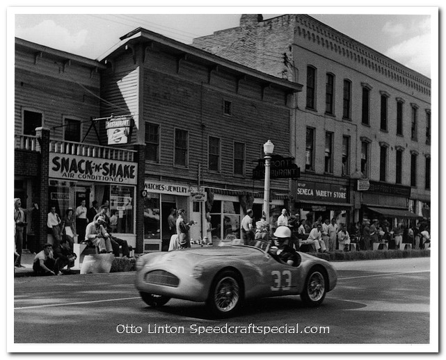 Otto Linton's Siata Prototype on Franklin St at Watkins Glen 1951